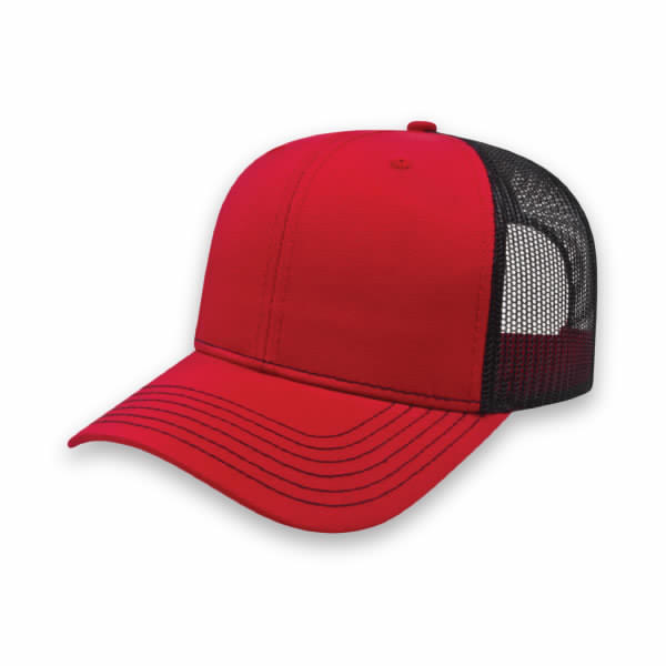 Red/Black Modified Flat Bill with Mesh Back Cap